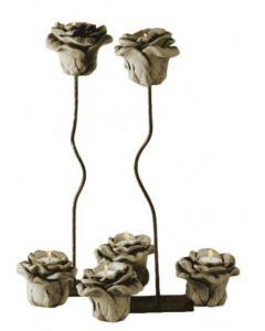 Rose auf Ständer für Teelicht, Steinguss