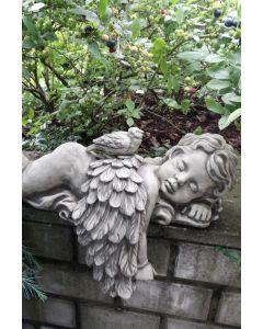 """Engel """"AZUR"""", liegend mit Vogel zum Stecken"""