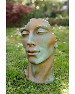 """Gesicht """"MANN"""", Steinguss, Kupfereffekt, klein"""