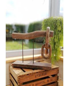 Holzobjekt Balken, zwei Ringe