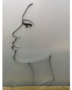 Schatten-Gesicht Frau, Metall breit, groß, schwarz