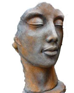 """Gesicht """"Frau"""", inkl. Platte zur Montage,Rosteffek"""