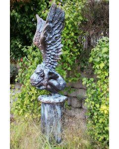 """Hockende Engelfrau m. Flügeln """"RACHEL"""",Bronze Opt."""